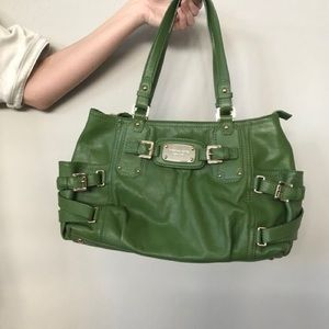 Mk Michael Kors Green Gold Hardware Leather Tote
